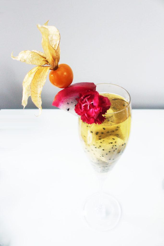 Dragonfruit + Mint Champagne Cocktail